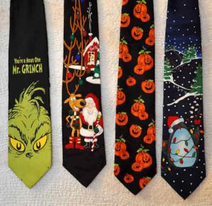 Grinch, Santa, Halloween, Penguin ties