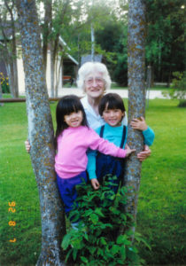 Mom with grandkids, Mari and George
