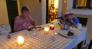 Trish and Di at dinner at Villa Andonis
