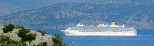Cruise ship sailing between Corfu and Albania