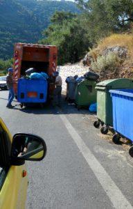 Trash collection on Corfu