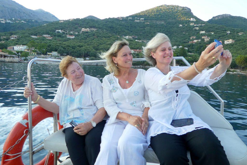 Di, Tricia and Helen off Corfu